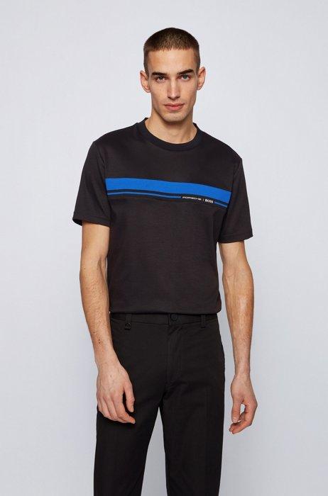 T-shirt en coton à col rond avec imprimé emblématique de la collection, Noir
