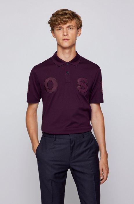 Cotton-piqué polo shirt with logo detail, Purple
