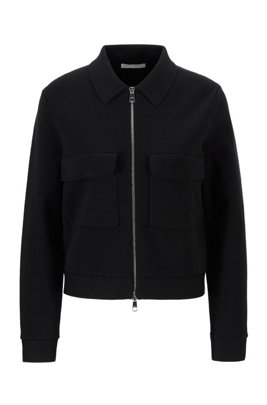 Relaxed-fit jacket knitted in a cotton blend, Black