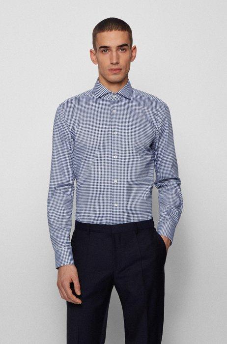 Slim-fit shirt in easy-iron checked cotton, Dark Blue
