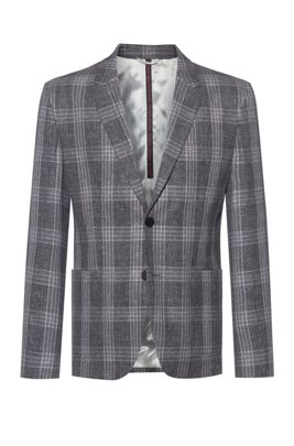 Checked slim-fit jacket in a bamboo-viscose blend, Grey