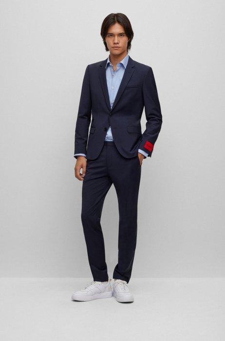 Extra-slim-fit suit in a super-flex wool blend, Dark Blue