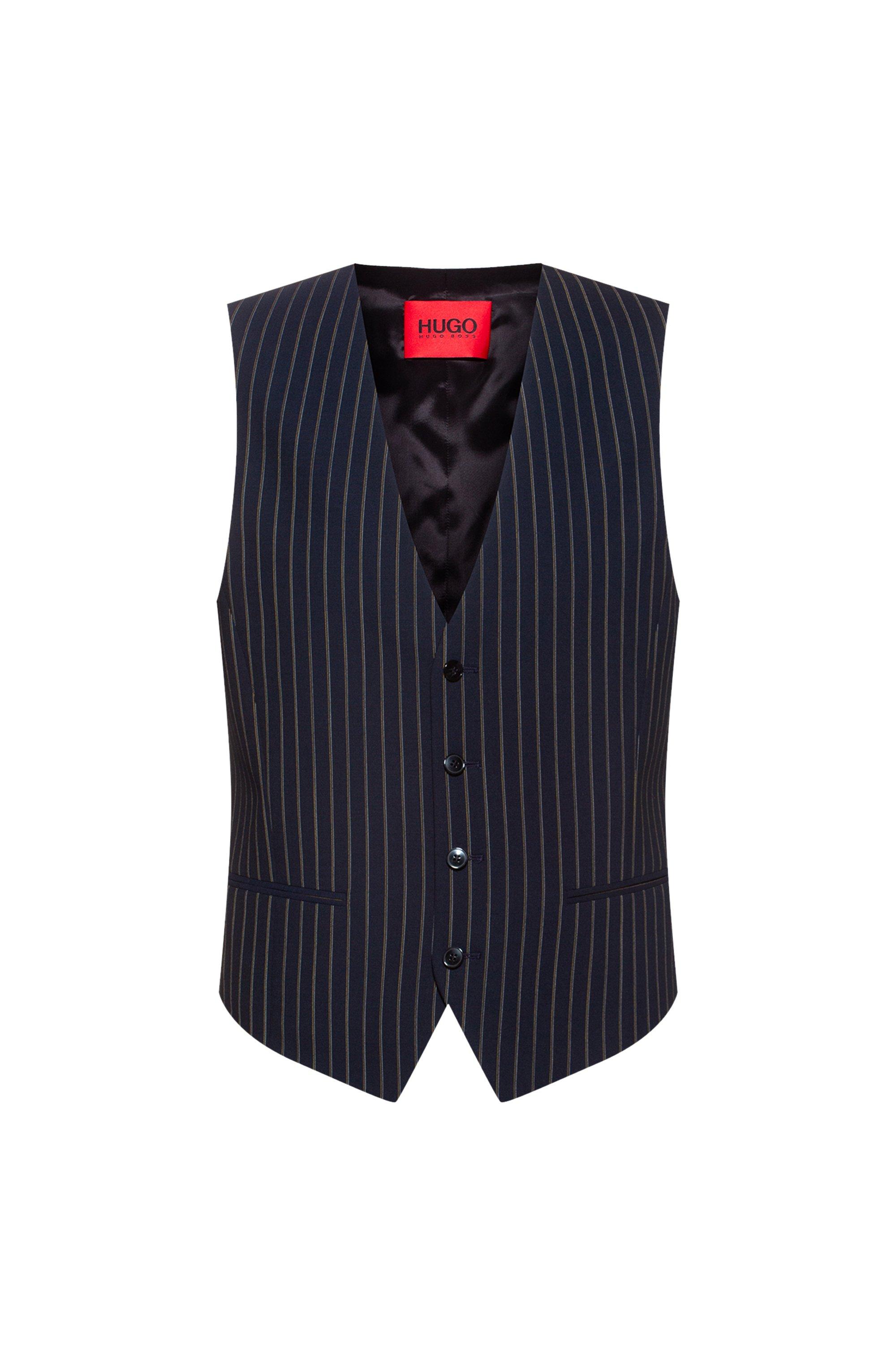 Slim-fit waistcoat in pinstripe stretch virgin wool, Dark Blue