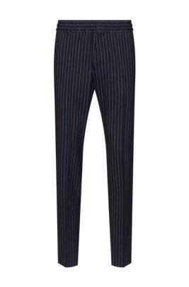 Extra-slim-fit pinstripe pants in stretch virgin wool, Dark Blue