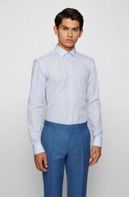 Slim-fit shirt in structured Italian cotton, Blue