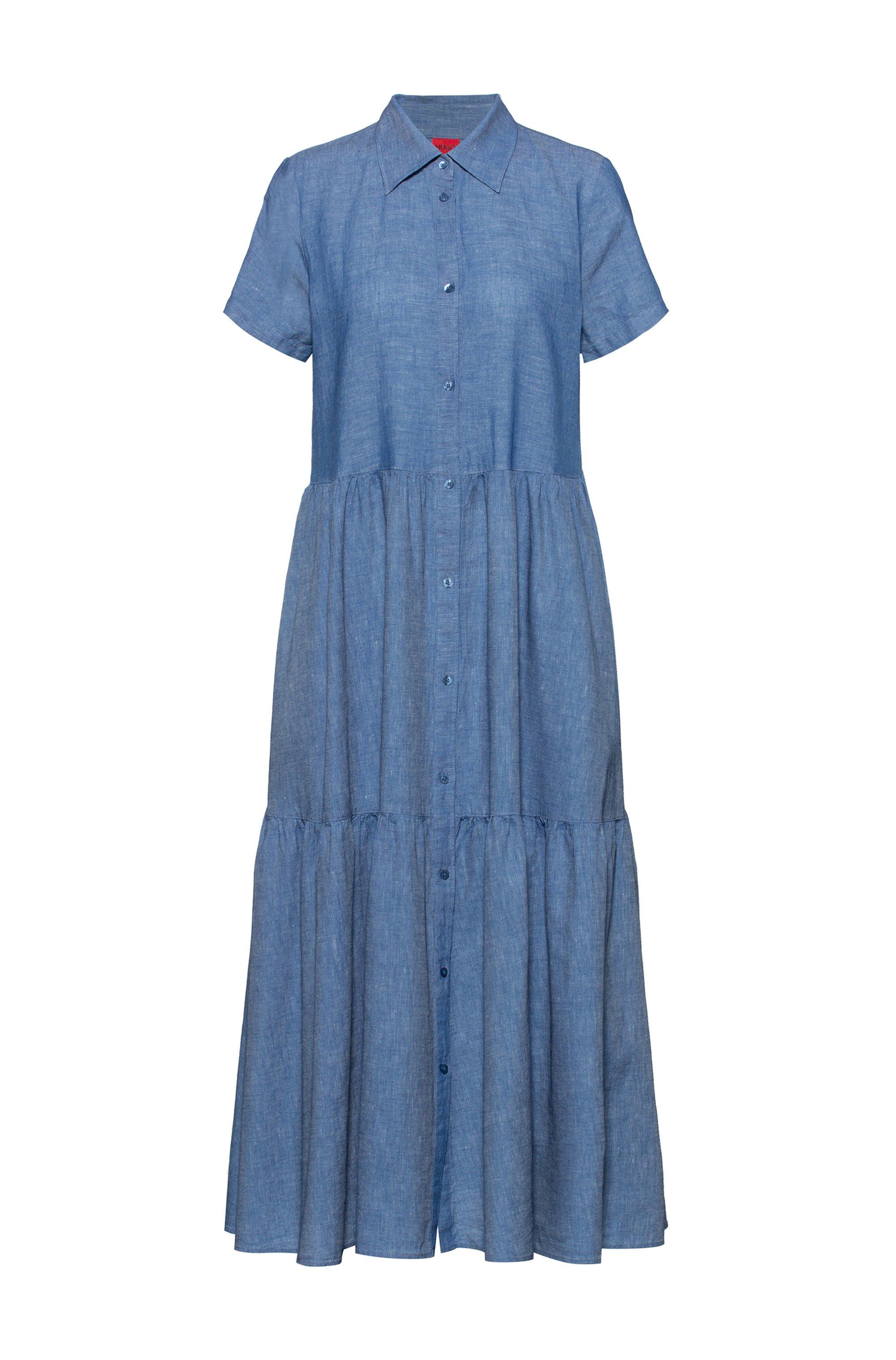 Short-sleeved shirt dress in cotton-linen denim, Blue