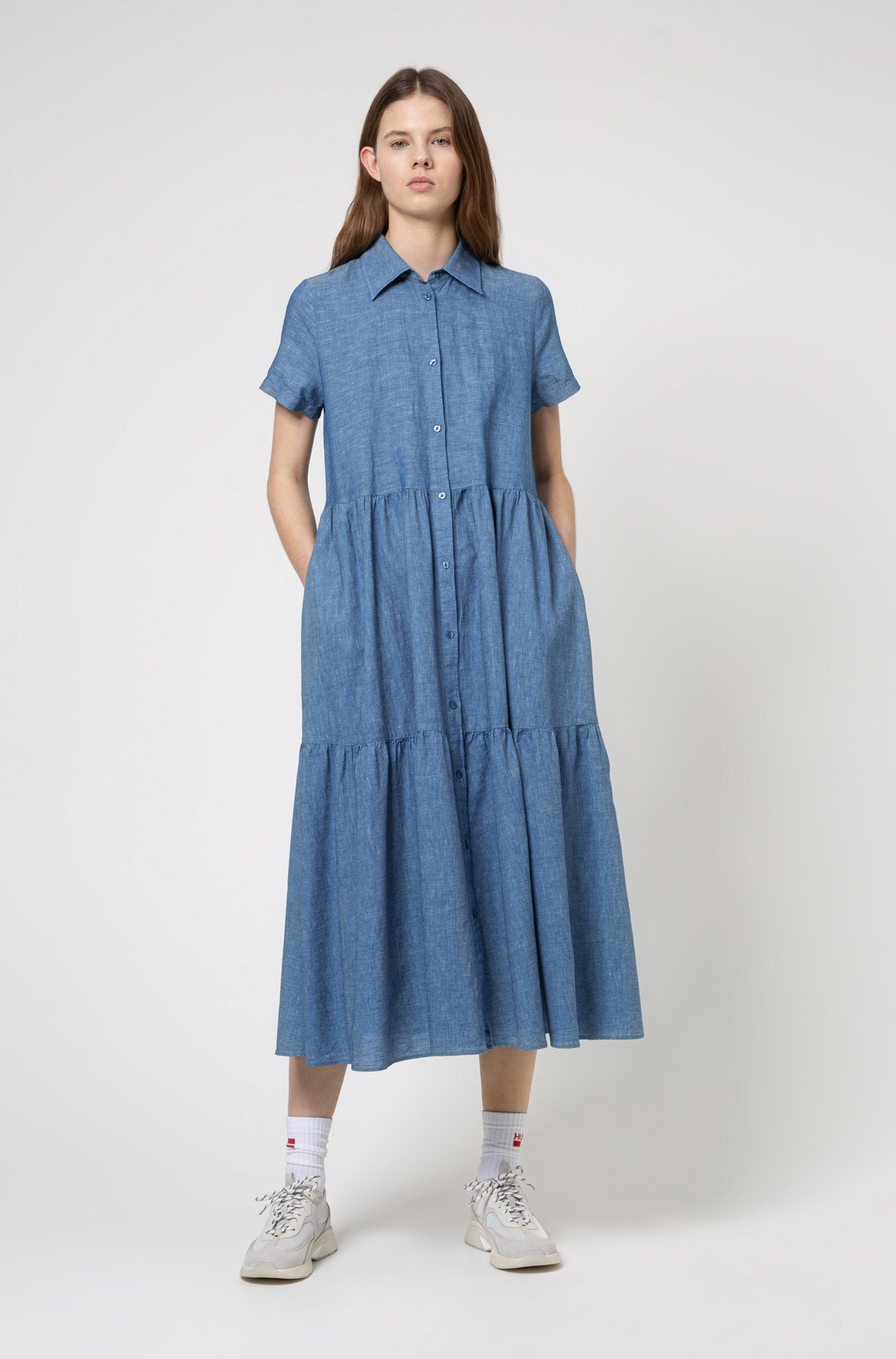 Short-sleeved shirt dress in cotton-linen denim