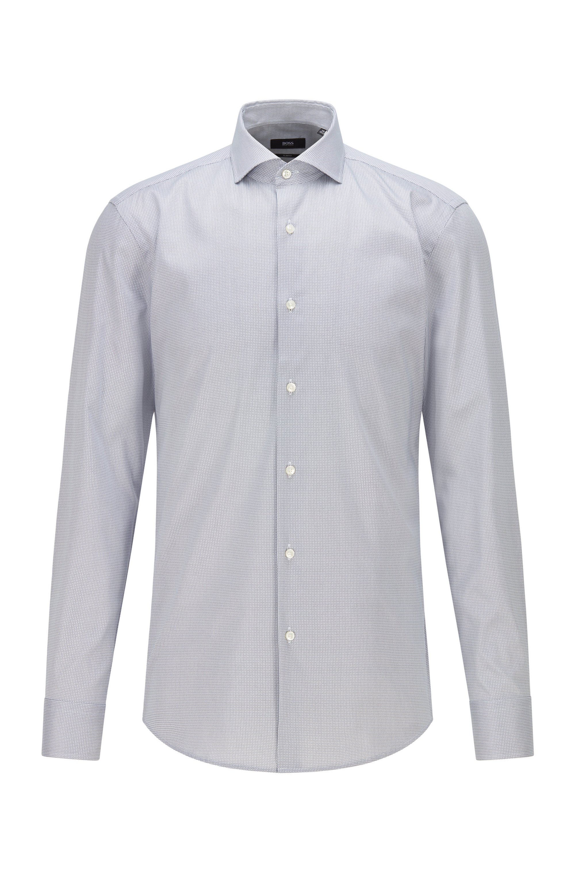 Micro-patterned slim-fit shirt with Cool Comfort finish, Dark Blue