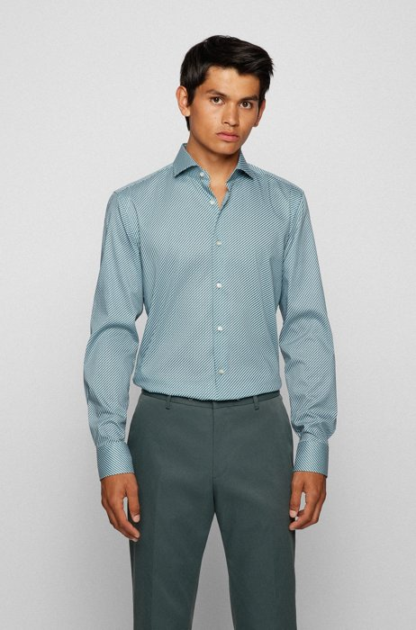 Slim-fit shirt in Cool Comfort cotton-blend twill, Turquoise