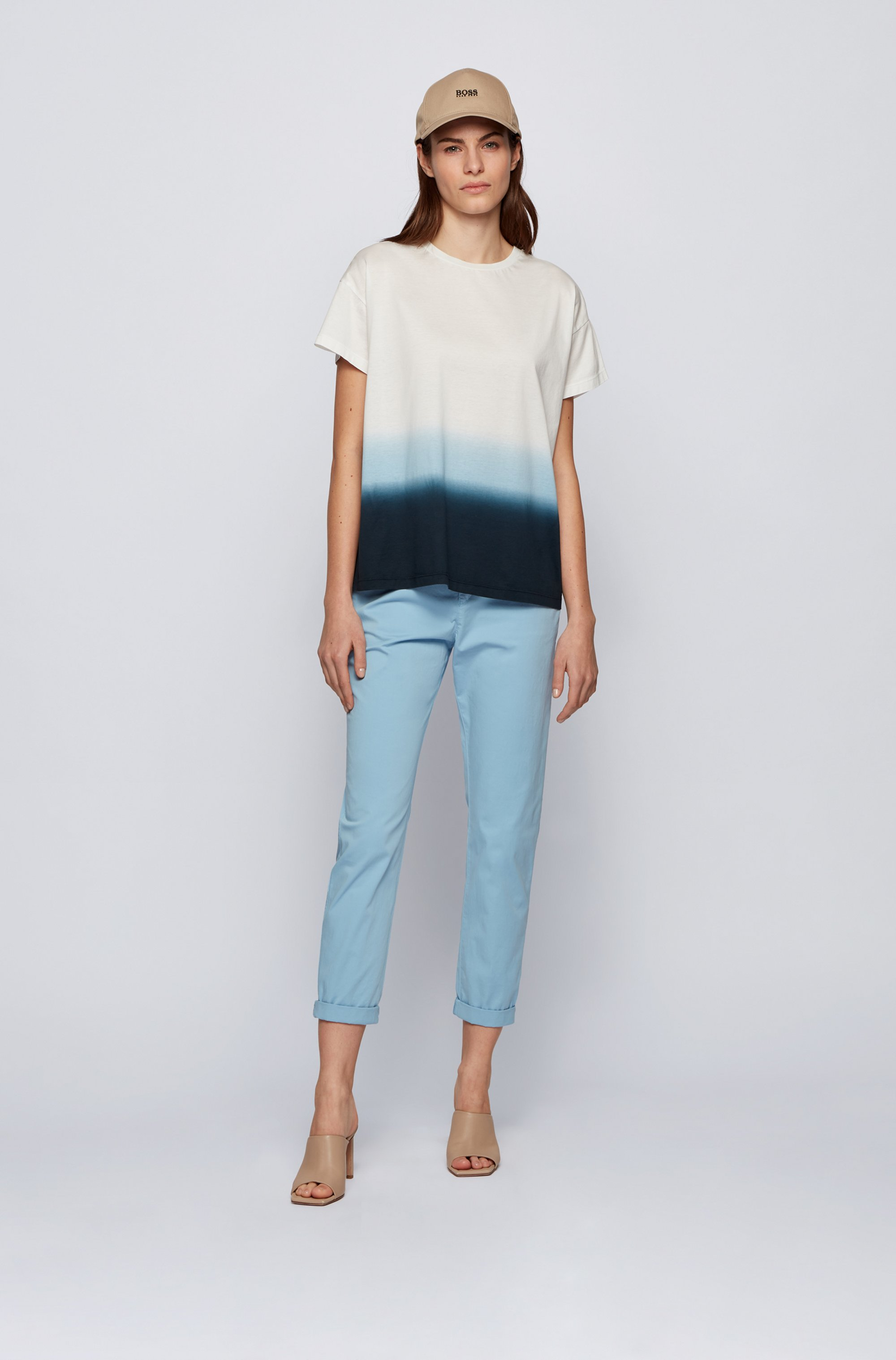 Dip-dyed relaxed-fit T-shirt in cotton jersey