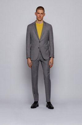Slim-fit suit in micro-patterned traceable wool, Grey