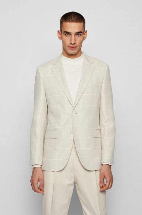 Regular-fit jacket in checked cloth, White