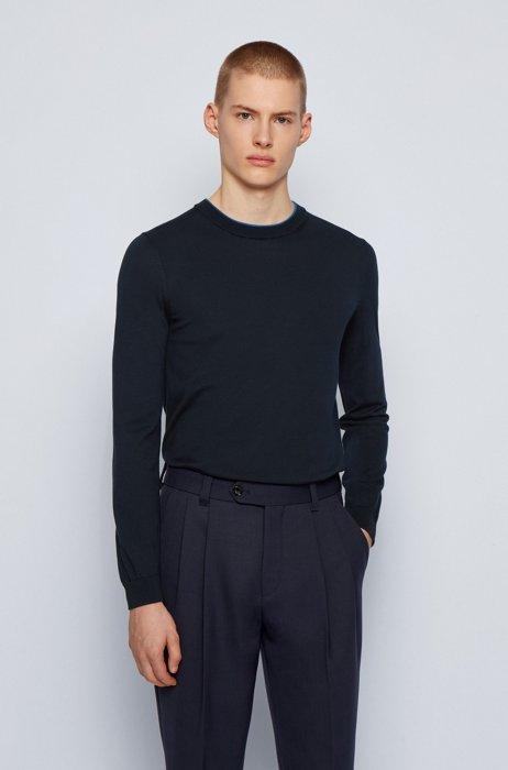 Slim-fit sweater in single-jersey cotton, Dark Blue