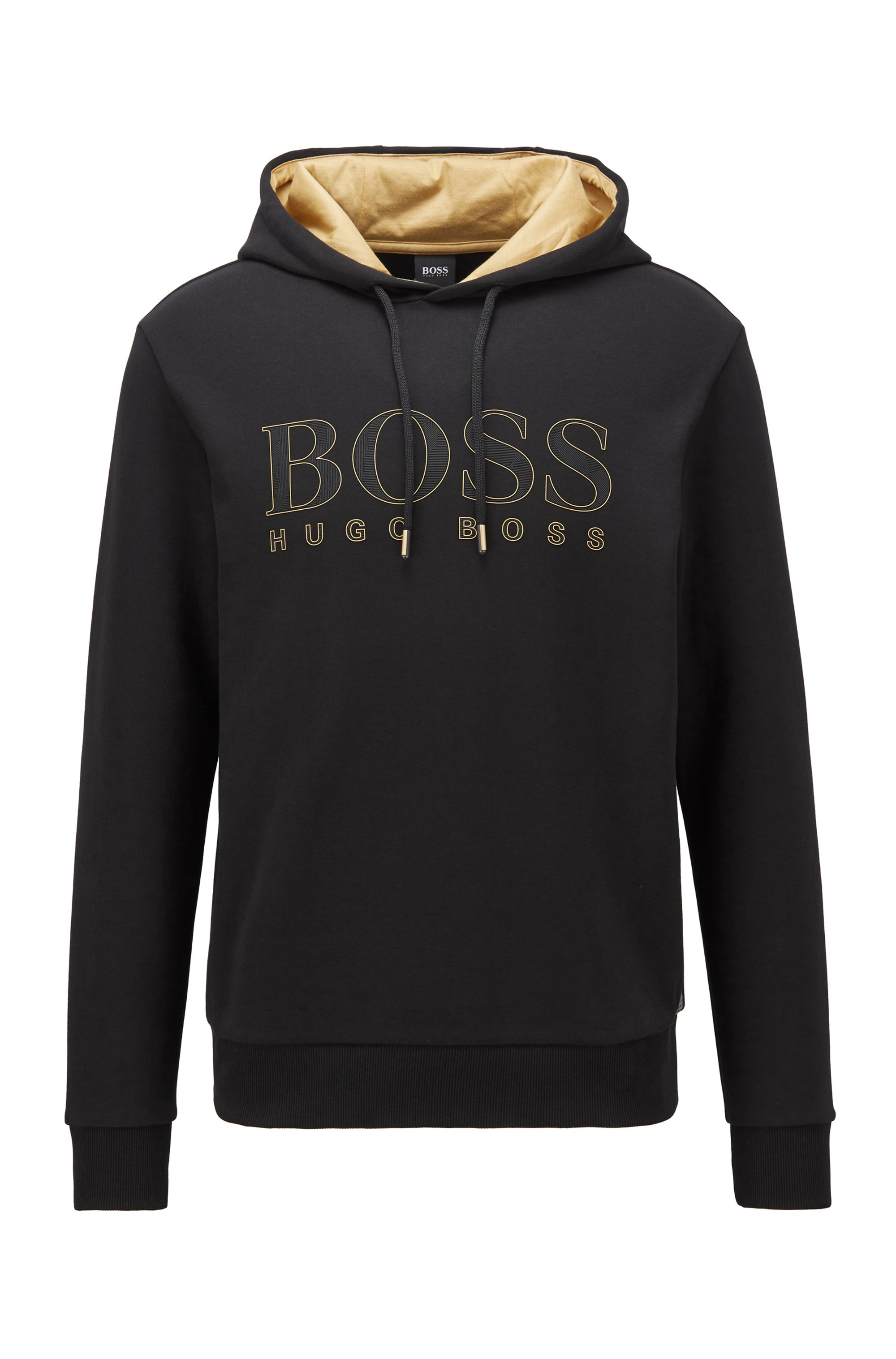 Sweatshirt with gold-tone hood lining and logo, Black