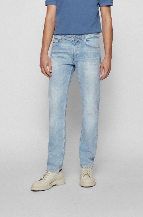 Slim-fit jeans in bleach-washed blue stretch denim, Blue