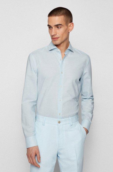 Slim-fit shirt in cotton and hemp, Light Blue