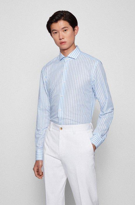 Striped slim-fit shirt in a cotton-linen blend, Light Blue