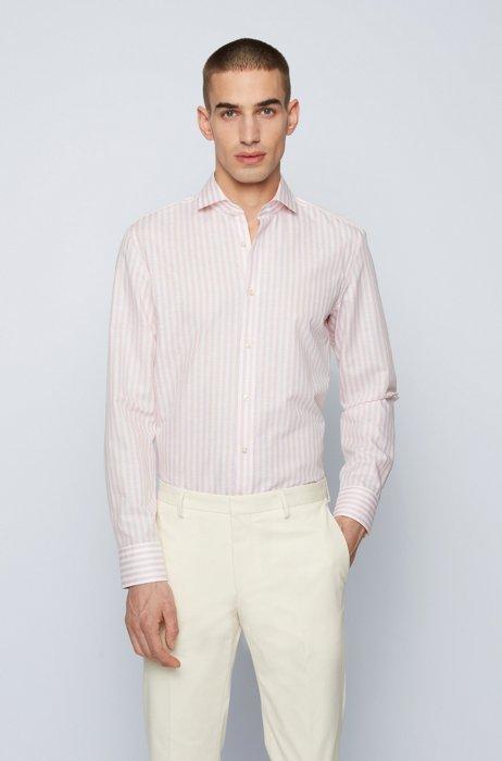 Striped slim-fit shirt in a cotton-linen blend, light pink