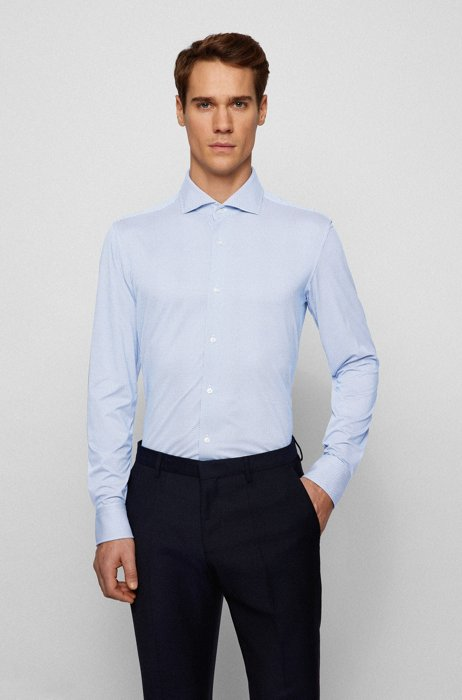Slim-fit shirt in structured Italian performance-stretch fabric, Blue