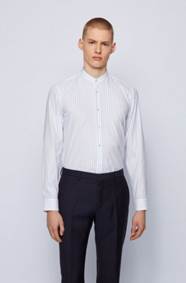 1920s Men's Shirts and Collars History Striped slim-fit shirt with stand collar $158.00 AT vintagedancer.com