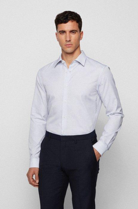 Patterned slim-fit shirt in lyocell and cotton, Dark Blue