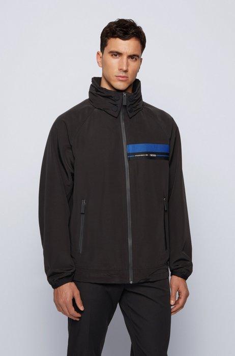 Packable regular-fit blouson jacket in shape-memory twill, Black