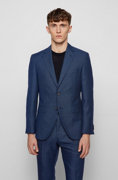 Regular-fit jacket in houndstooth virgin wool, Light Blue