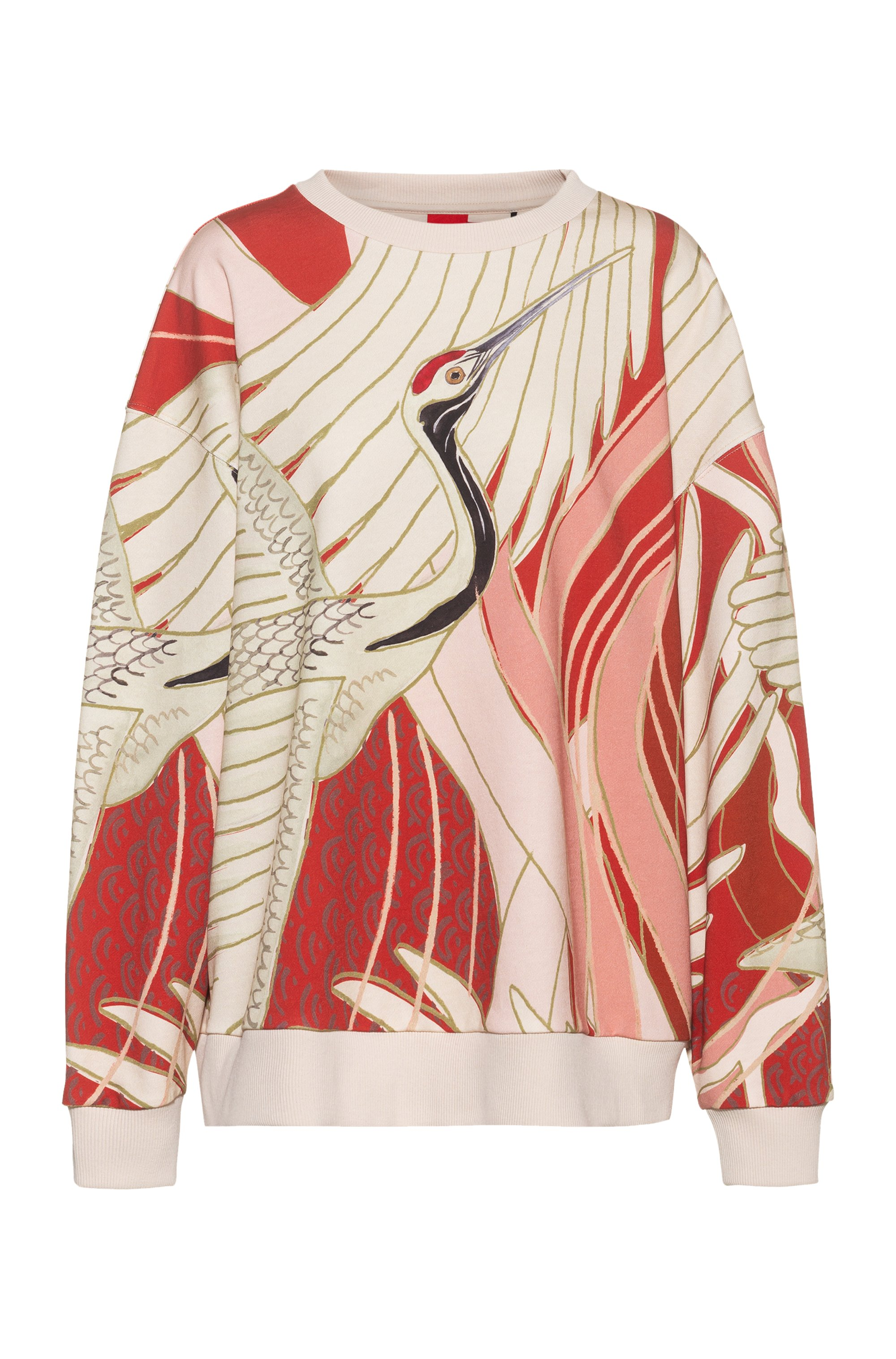 Relaxed-fit sweatshirt in Recot2® cotton with crane print, Patterned