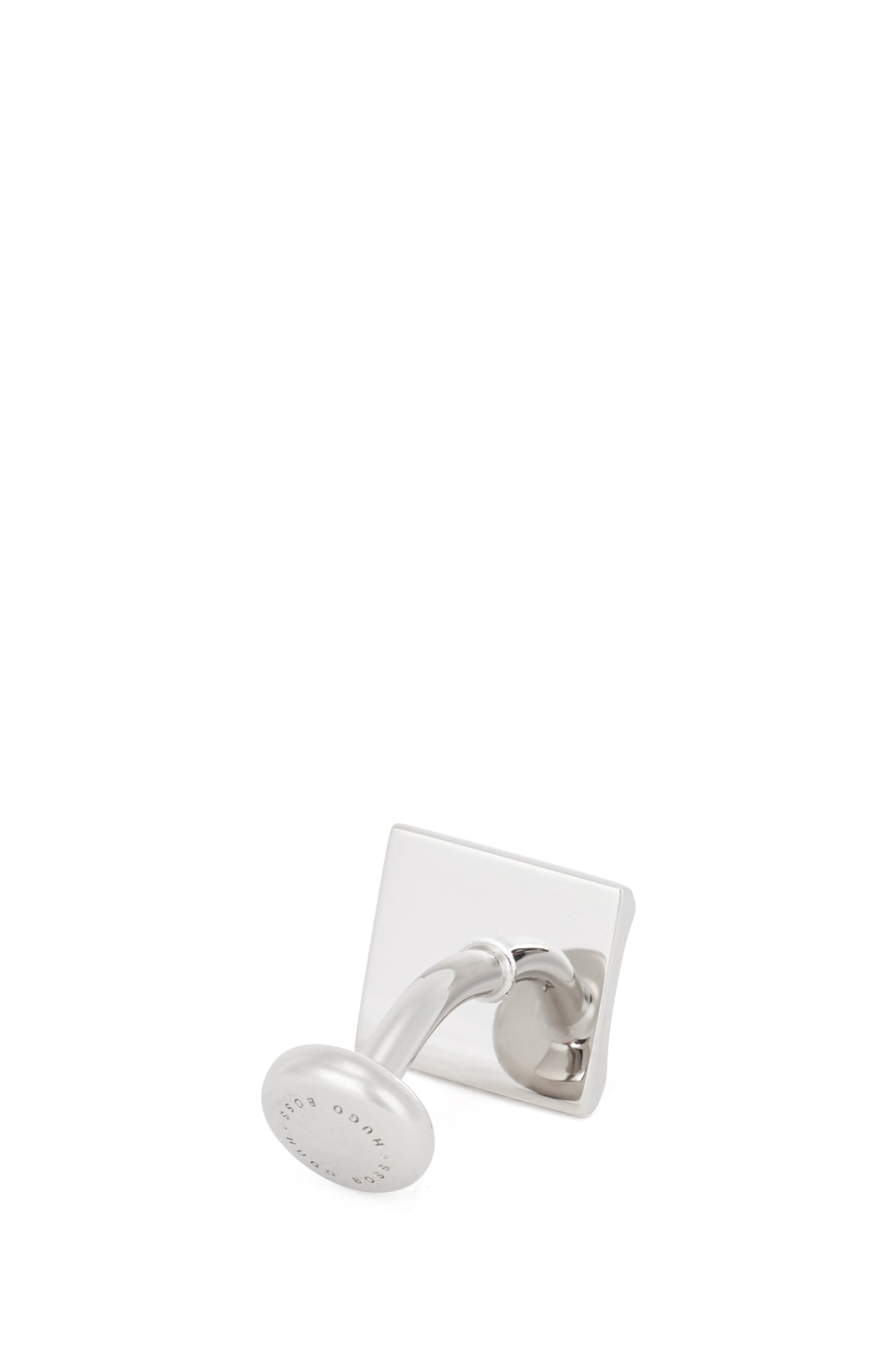 Rectangular cufflinks with curved frame and logo enamel insert