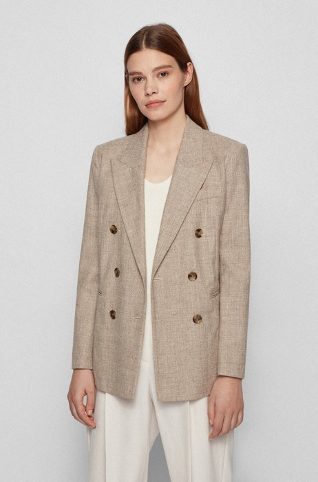 Double-breasted regular-fit jacket in a cotton blend, Beige