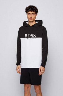 Loungewear top in a double-knit cotton blend, Black