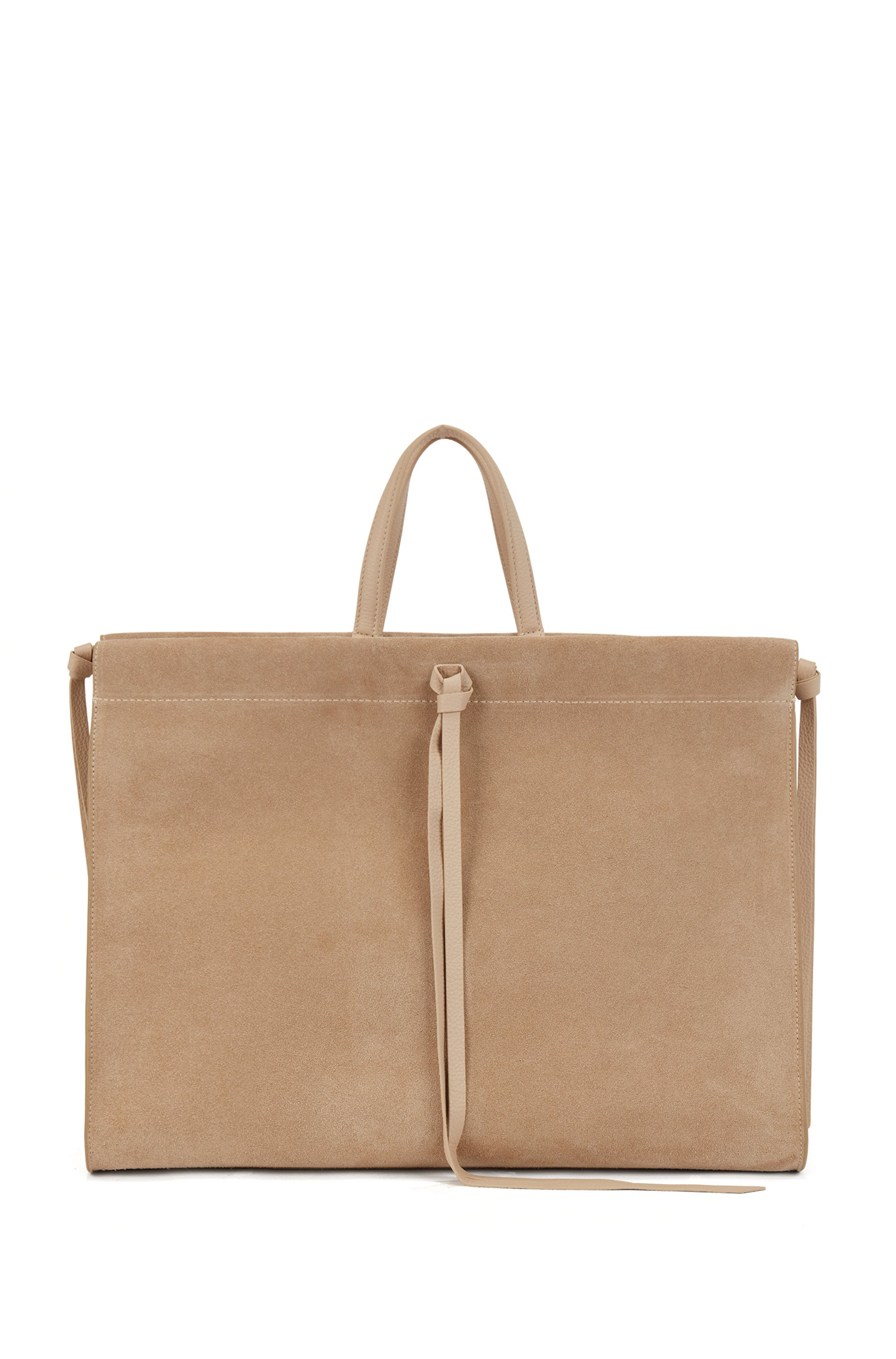 Suede tote bag with knotted tassel trims, Beige