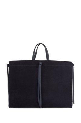 Suede tote bag with knotted tassel trims, Dark Blue