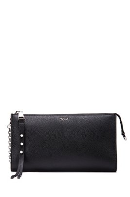 Mini bag in grained leather with detachable chain strap, Black
