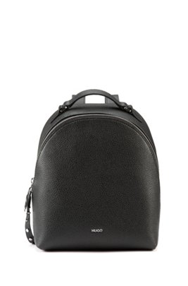 Grainy-leather backpack with studded zip puller, Black