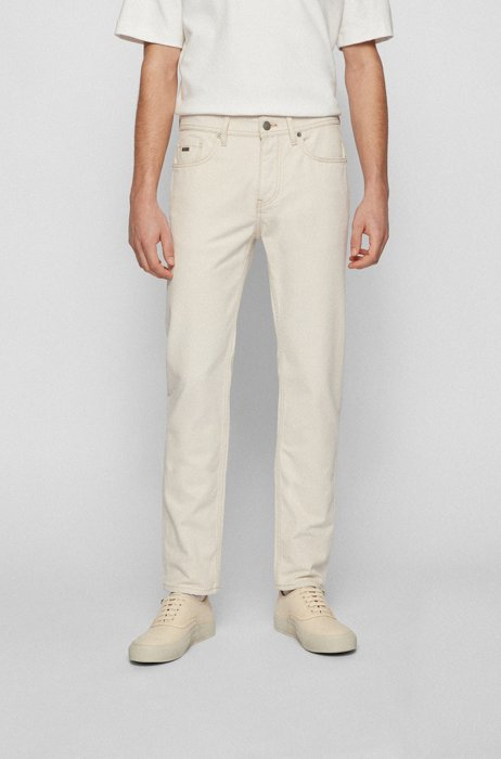 Tapered-fit jeans in two-tone comfort-stretch denim, Light Beige