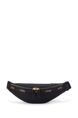 Structured-nylon belt bag with logo prints, Black