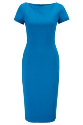 Hugo Boss HUGO BOSS - WIDE NECK SHIFT DRESS WITH EXPOSED CENTER BACK ZIP - LIGHT BLUE