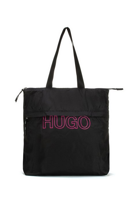 Packable recycled-nylon shopper bag with logo, Black