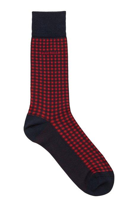 Regular-length cotton-blend socks with Vichy pattern, Dark Blue
