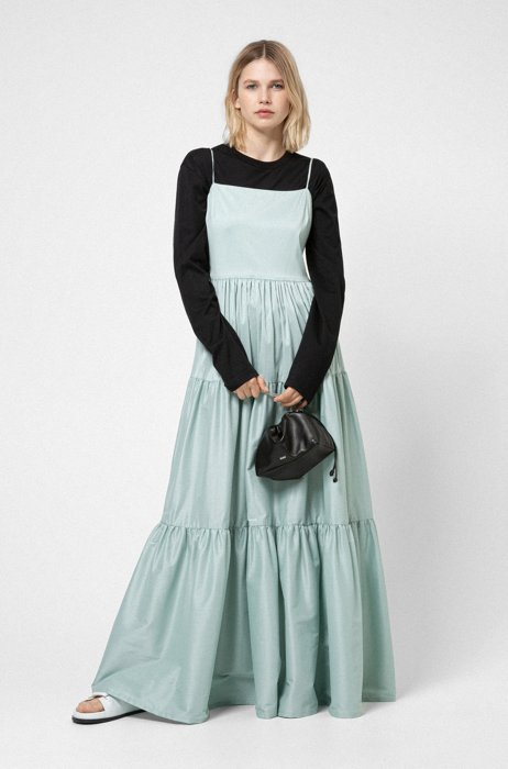 Tiered maxi dress in a paper-touch cotton blend, Light Green