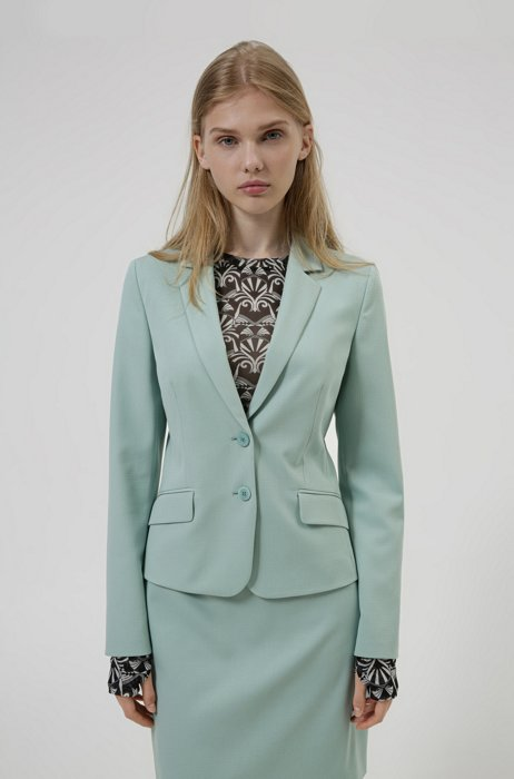 Regular-fit cropped jacket in midweight stretch fabric, Light Green