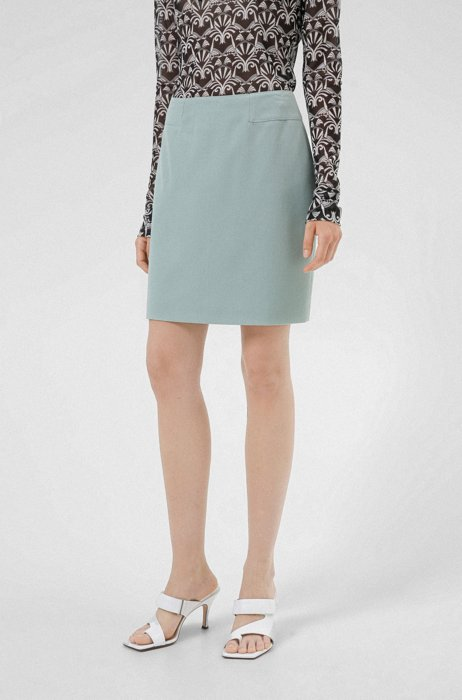 High-waisted pencil skirt in 3D-structured stretch fabric, Light Green