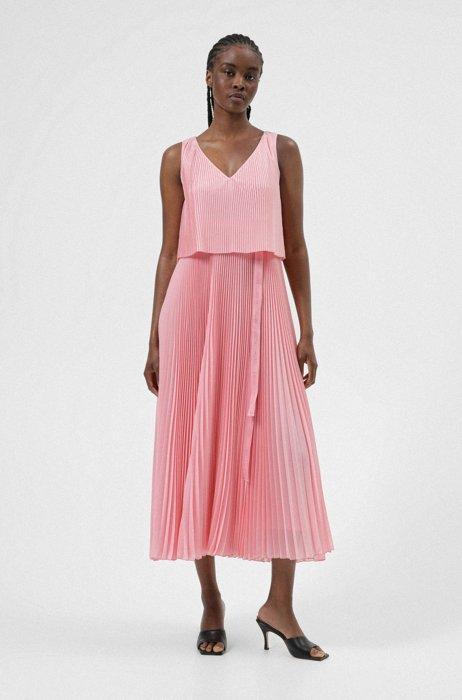 Layered plissé dress with logo belt, Pink
