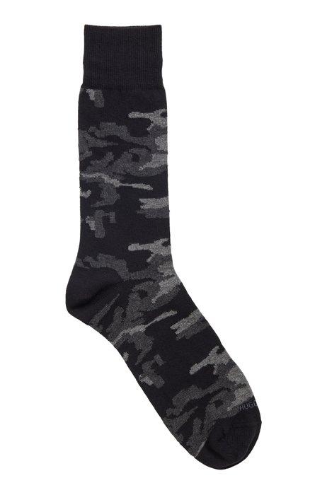 Regular-length cotton-blend socks with camouflage pattern, Black