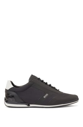Low-top trainers with thermo-bonded trim, Black