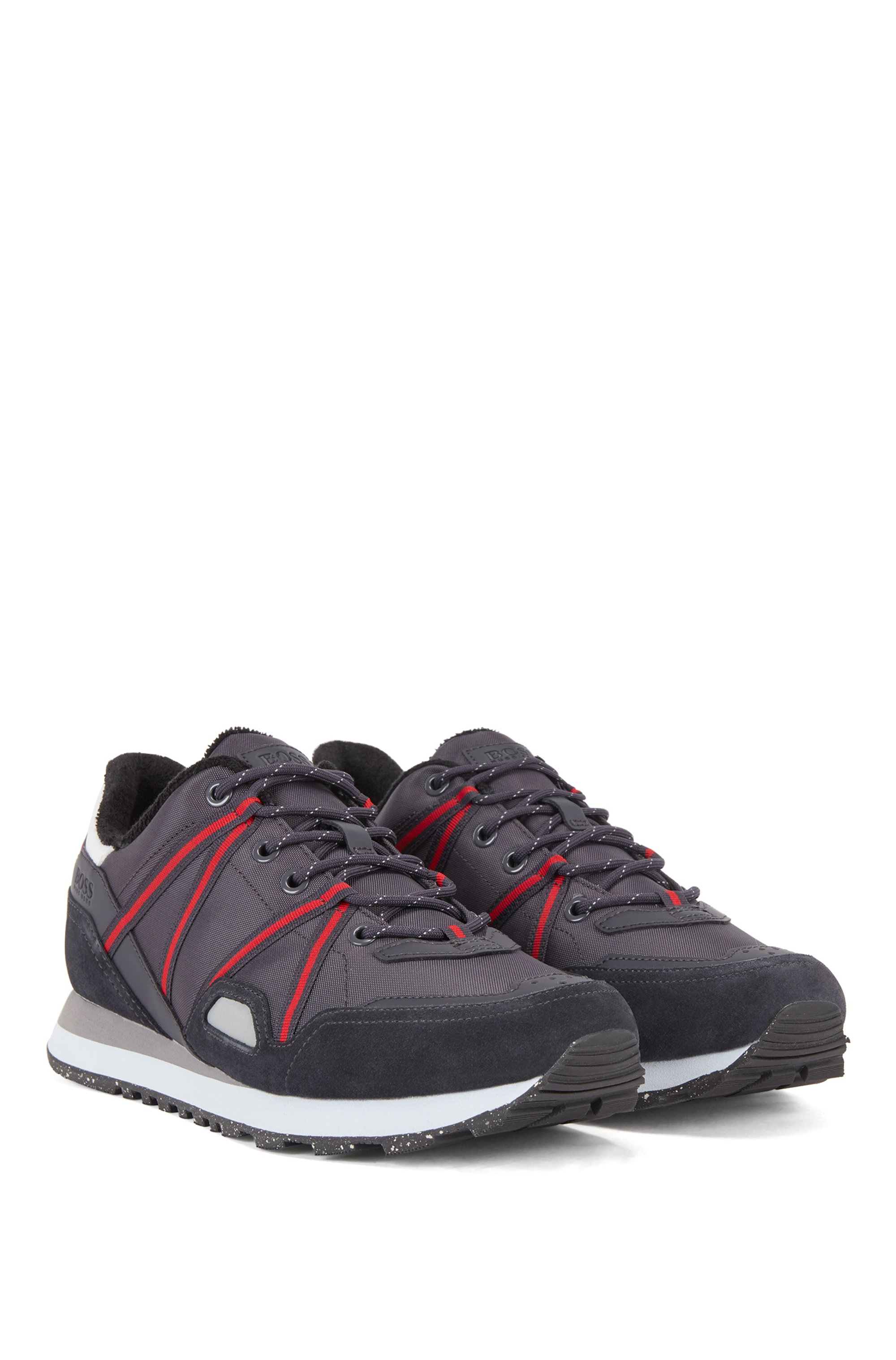 Mixed-material trainers with suede and webbing