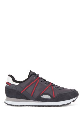 Mixed-material trainers with suede and webbing, Dark Grey