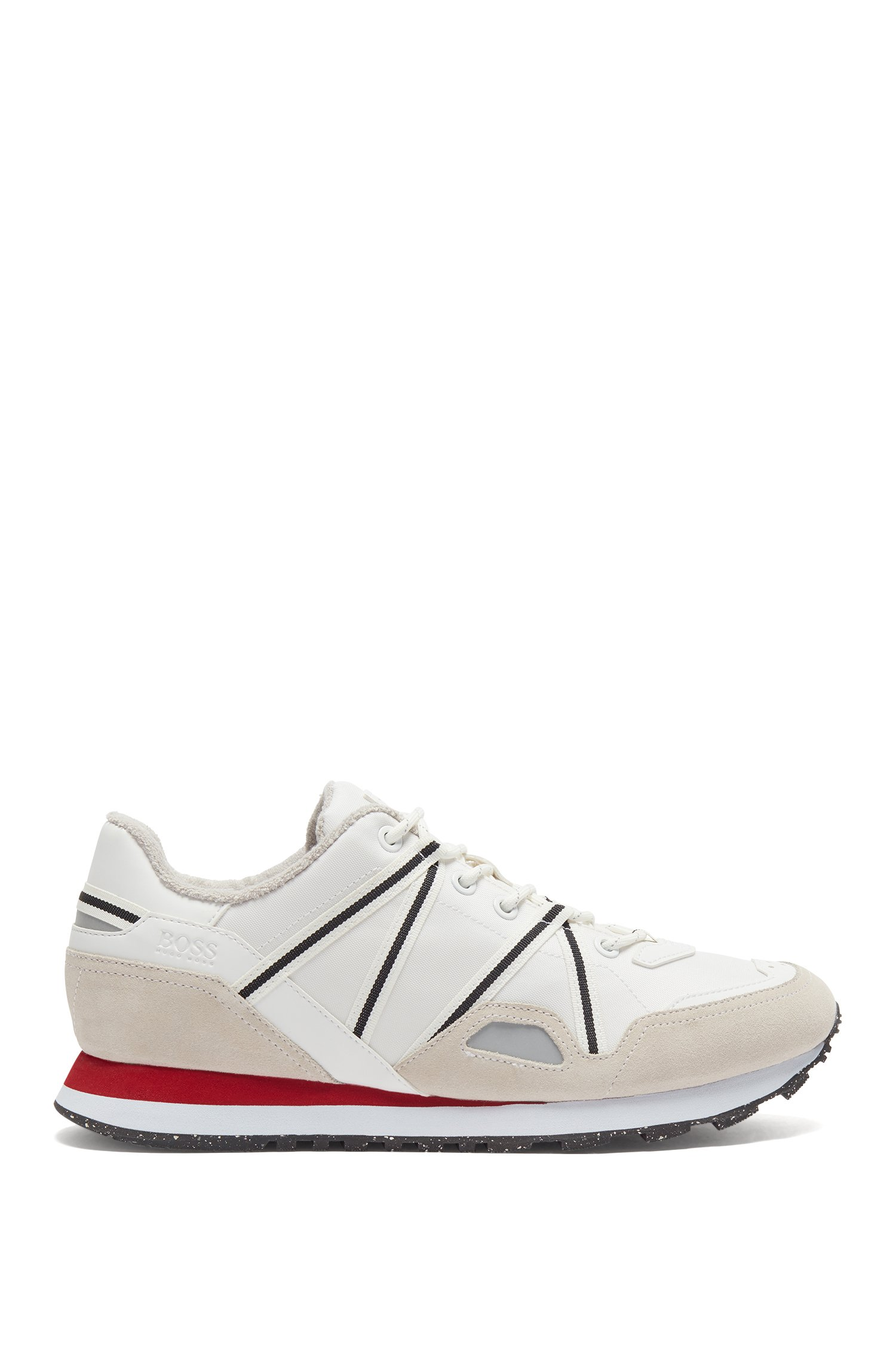 Mixed-material trainers with suede and webbing, White