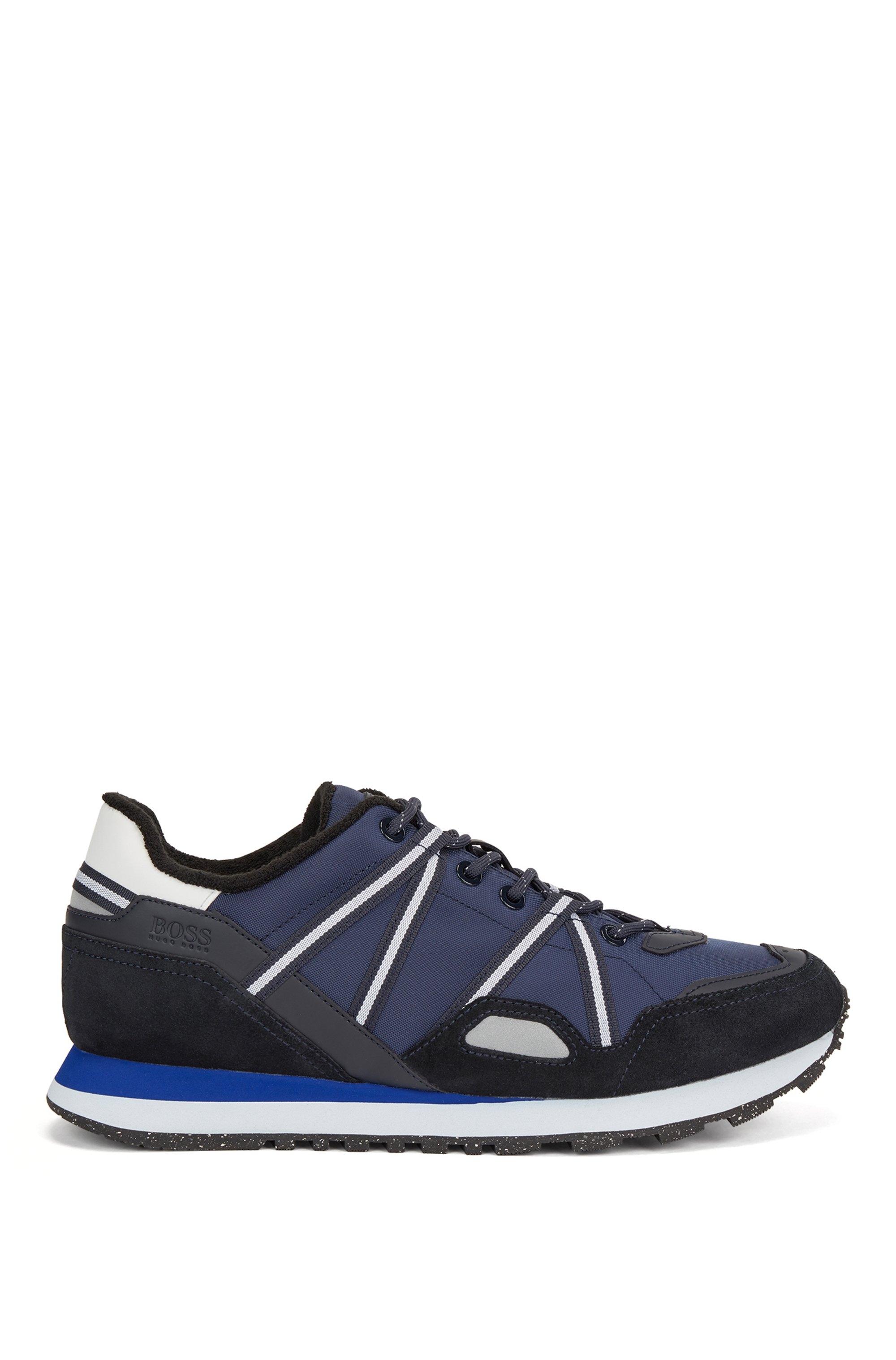 Mixed-material trainers with suede and webbing, Dark Blue